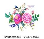 flowers. vector realistic hand... | Shutterstock .eps vector #793785061