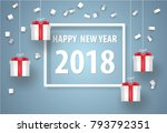 happy new year with white... | Shutterstock .eps vector #793792351