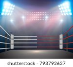 boxing ring with illumination... | Shutterstock . vector #793792627