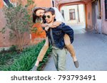 young beautiful couple in love... | Shutterstock . vector #793793491