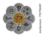 set of gold and silver crypto...   Shutterstock .eps vector #793798489