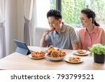 young asian couples eating... | Shutterstock . vector #793799521