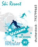ski poster.abstract background | Shutterstock .eps vector #793799665