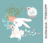 cute white bunny  rabbit  hare... | Shutterstock .eps vector #793801099