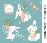 cute white bunnies  rabbits set ... | Shutterstock .eps vector #793801111