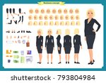 set of businesswoman character... | Shutterstock .eps vector #793804984