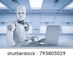 3d rendering humanoid robot... | Shutterstock . vector #793805029