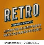 slanted vintage retro 3d sans... | Shutterstock .eps vector #793806217