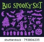 big spooky halloween objects... | Shutterstock .eps vector #793806235