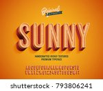 """Sunny"" Vintage 3d Premium Rich Textured Alphabet. Super Detailed Retro Typeace with Good Vibes and High Temperature . Vector Illustration 