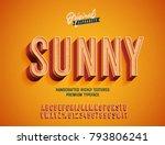 """sunny"" vintage 3d premium rich ... | Shutterstock .eps vector #793806241"