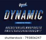 """dynamic"" blue vintage 3d... | Shutterstock .eps vector #793806247"