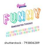 'funny' vintage 3d sans serif...   Shutterstock .eps vector #793806289