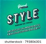 slanted 'style' vintage 3d sans ... | Shutterstock .eps vector #793806301