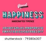 'happiness' vintage 3d sans... | Shutterstock .eps vector #793806307