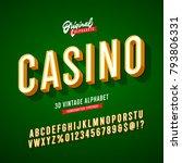 'casino' vintage 3d sans serif... | Shutterstock .eps vector #793806331