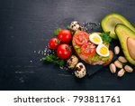 sandwich with quail eggs ... | Shutterstock . vector #793811761