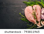 raw chicken breast fillet with... | Shutterstock . vector #793811965