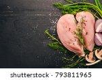 raw chicken breast fillet with... | Shutterstock . vector #793811965