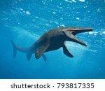 mosasaurus  huge ocean lizard ...   Shutterstock . vector #793817335