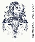 mexican criminal tattoo art and ... | Shutterstock .eps vector #793817797
