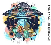space ship tattoo and t shirt... | Shutterstock .eps vector #793817815