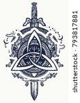 celtic tattoo and t shirt design | Shutterstock .eps vector #793817881