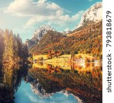 fairy tale  lake hintersee in... | Shutterstock . vector #793818679