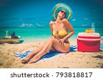 beautiful lady resting alone on ... | Shutterstock . vector #793818817