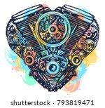 mechanical heart tattoo and t... | Shutterstock .eps vector #793819471