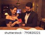 romantic dinner at home | Shutterstock . vector #793820221