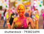 girl celebrate holi festival | Shutterstock . vector #793821694