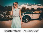 beautiful lady with mobile... | Shutterstock . vector #793823959