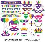 mardi gras vector decoration... | Shutterstock .eps vector #793826074