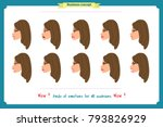 set of woman expression... | Shutterstock .eps vector #793826929