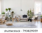 pouf and gray armchair in... | Shutterstock . vector #793829059