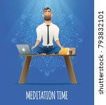 yoga at job. businessman... | Shutterstock .eps vector #793832101