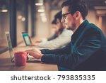 young specialist in coworking...   Shutterstock . vector #793835335