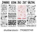 mega set of doodles vector.