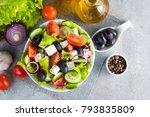 fresh greek salad made of... | Shutterstock . vector #793835809