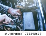 technician working on checking... | Shutterstock . vector #793840639