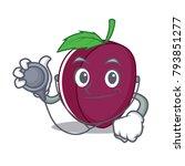 doctor plum character cartoon... | Shutterstock .eps vector #793851277