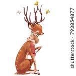 Cute Summer Girl With Deer...