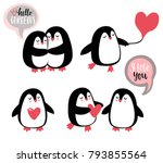 cute romantic penguins. vector... | Shutterstock .eps vector #793855564