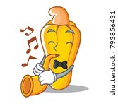 with trumpet cashew mascot... | Shutterstock .eps vector #793856431