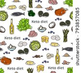 seamless pattern with food ... | Shutterstock .eps vector #793857085