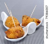 a few cod fritters served as spanish tapas - stock photo