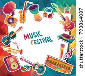 colorful music background.... | Shutterstock .eps vector #793864087