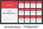 calendar for 2019 red background | Shutterstock .eps vector #793864267