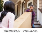 couple carrying big box... | Shutterstock . vector #793866481